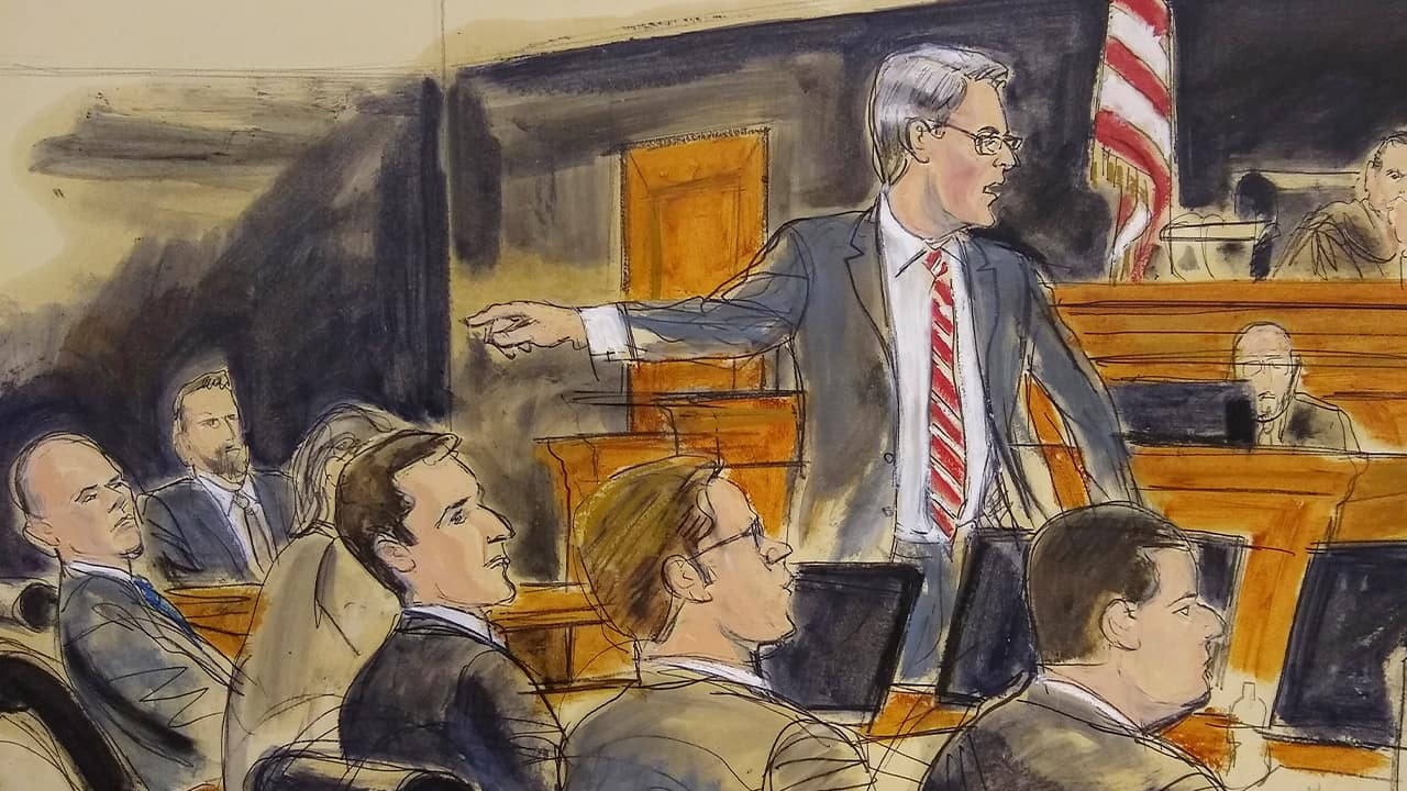 Photo of a courtroom sketch