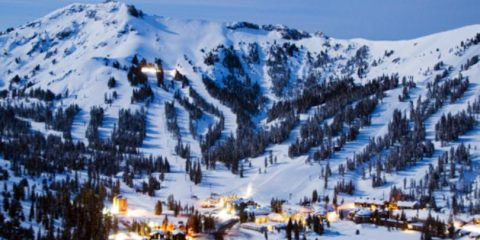 Photo of snow-covered Kirkwood Mountain and ski resort