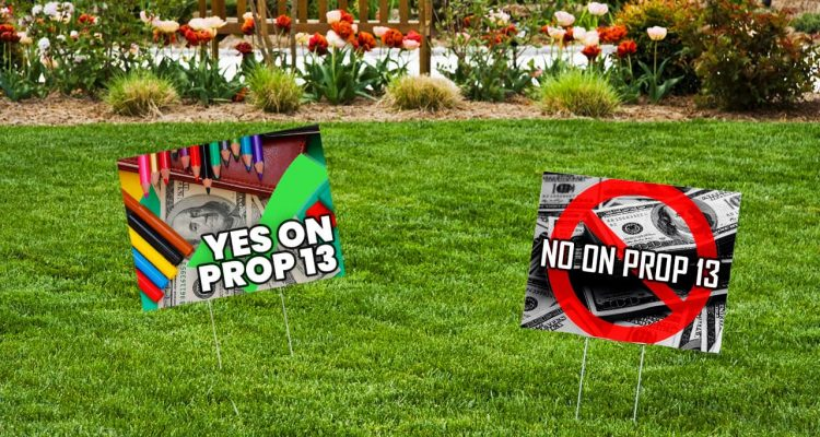 Photo illustration of generic Proposition 13 signs on a lawn