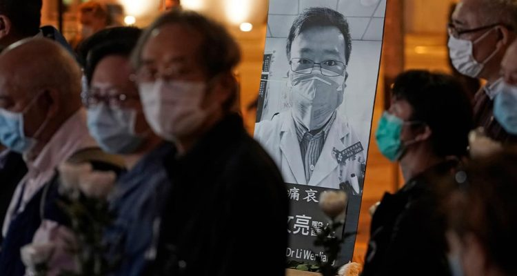 Photo of a vigil for Chinese doctor Li Wenliang