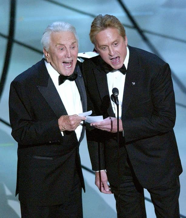 Photo of father-son presenters Kirk Douglas, left, and Michael Douglas