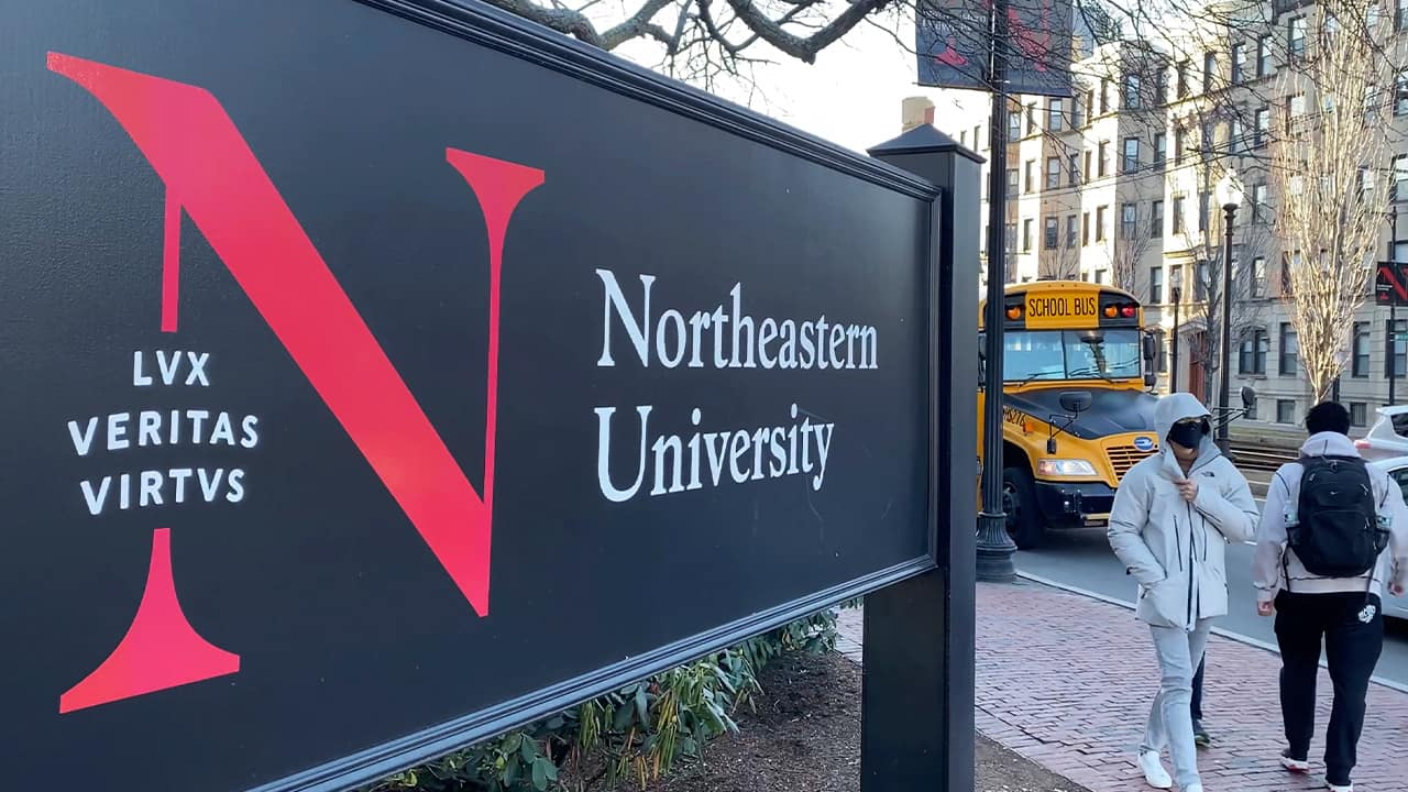 Photo of a sign at Northeastern University in Boston
