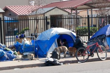 Photo of a homeless camp in downtown Fresno
