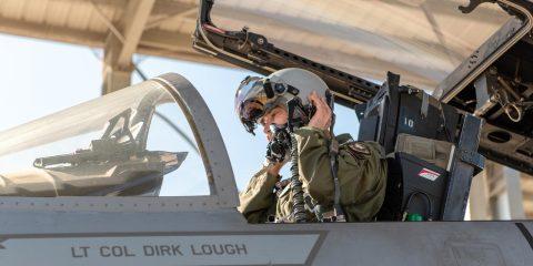 Pilot in F-15 cockpit