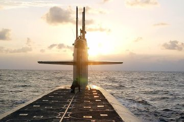 Photo of The Ohio-class ballistic-missile submarine USS Wyoming approaches Naval Submarine Base Kings Bay, Ga.