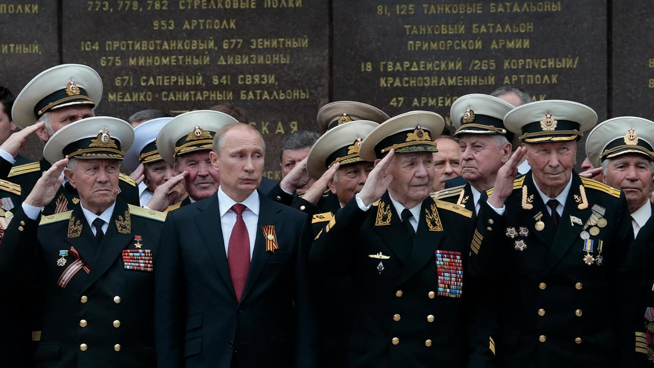 Photo of President Vladimir Putin attending a parade marking the Victory Day in Sevastopol, Crimea