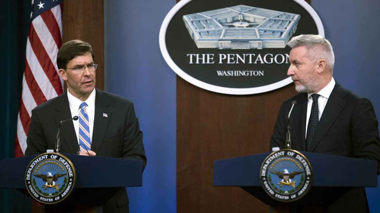 Photo of Secretary of Defense Mark Esper, left, and Italian Minister of Defense Lorenzo Guerini