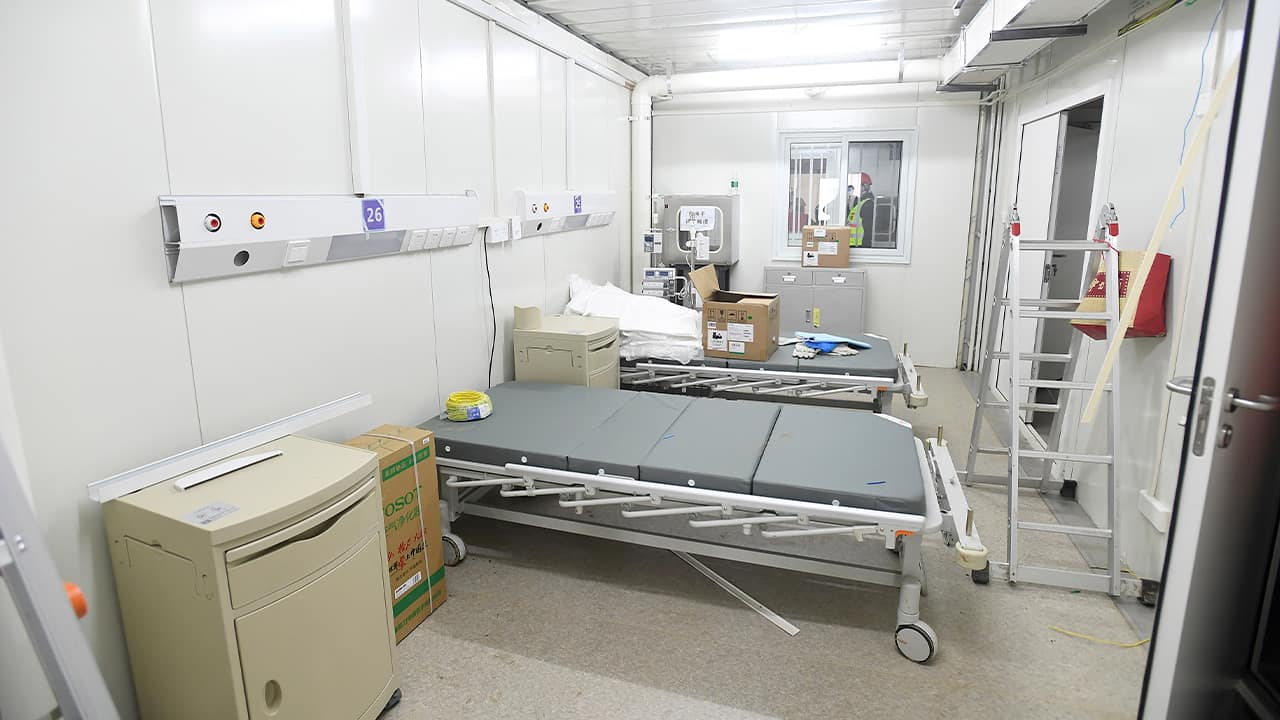 Photo of a patient room is seen at the Huoshenshan temporary field hospital in Wuhan