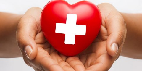 A heart with the Red Cross symbol