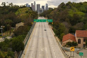 Photo of the 110 Harbor Freeway toward downtown during mid-afternoon in Los Angeles