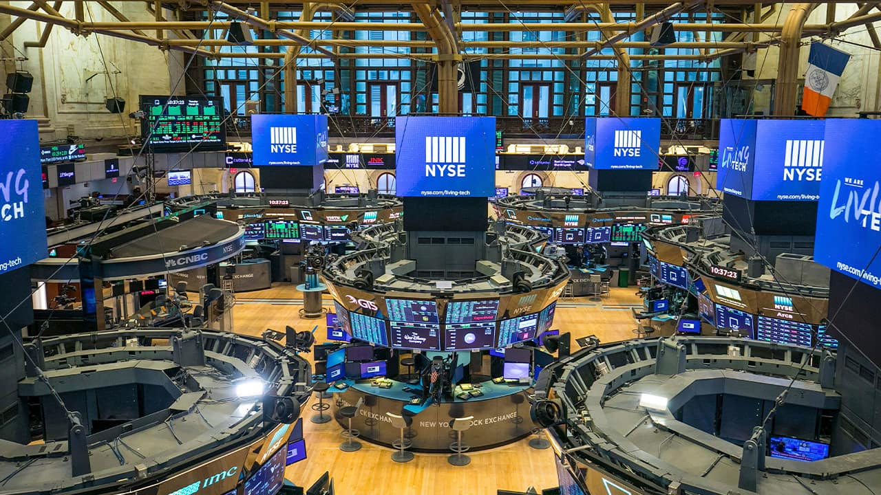 Photo of an empty NYSE floor