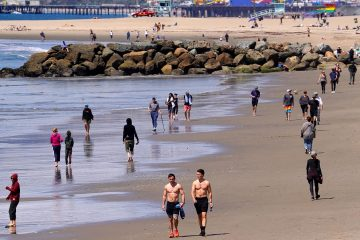 People walking at Venice Beach in Calif.