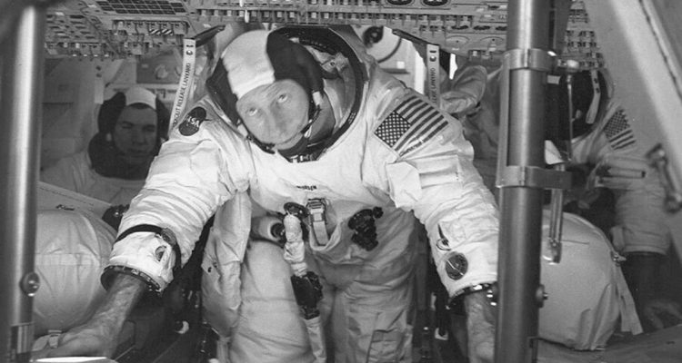 Photo of astronauts Al Worden, center, Dave Scott, left, and Jim Irwin in the Command Module for an altitude chamber test at Cape Canaveral, Fla.