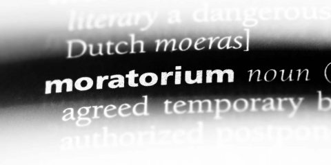 "Photo of the word ""moratorium"" from the dictionary"