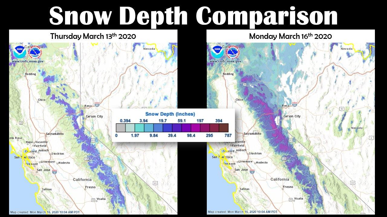Snow depth comparison chart for Sierra Nevada, March 13, 2020 vs. March 16, 20206
