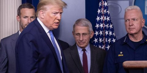 Photo of President Donald Trump with Dr. Anthony Fauci, director of the National Institute of Allergy and Infectious Diseases, center, and Adm. Brett Giroir, M.D., Assistant Secretary for Health