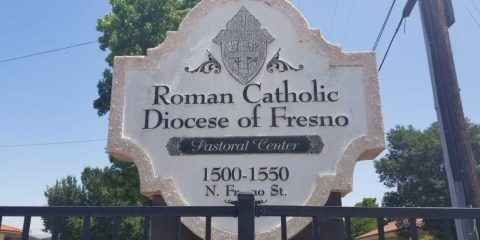Photo of the sign at the Catholic Diocese of Fresno headquarters