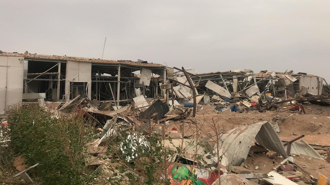 Photo of destroyed buildings in Karbala, Iraq