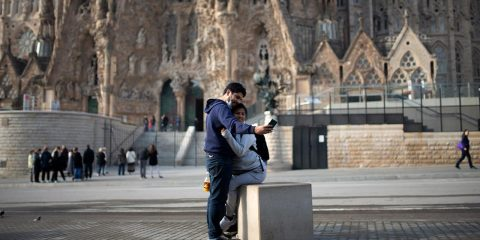 Photo of people taking a photo in Spain