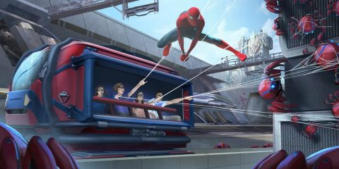 Photo of a concept for the Spider-Man Adventure attraction in Avengers Campus at Disney California Adventure Park in Anaheim