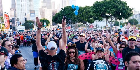 Photo of a crowd of people a Los Angeles marathon