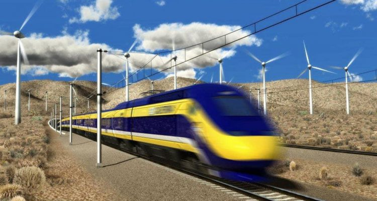 Photo of a rendering of the California high speed-rail
