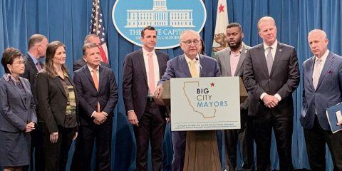 Fresno Mayor Lee Brand at podium.