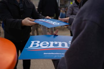 Photo of Bernie Sanders signs