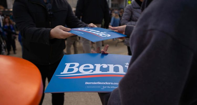 Photo of Bernie Sanders signs