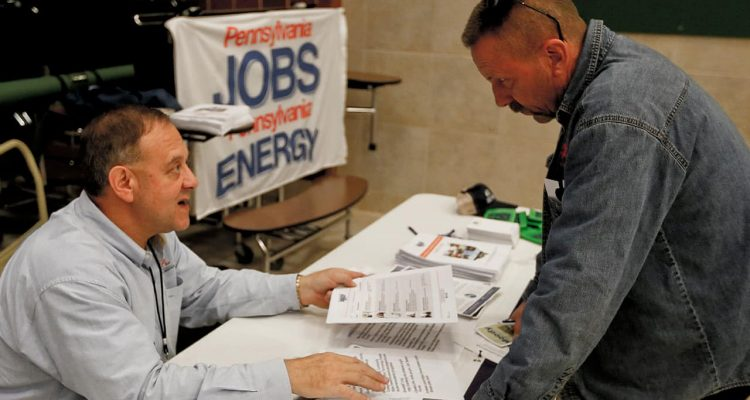 Photo of a job fair in Cheswick, Pa.