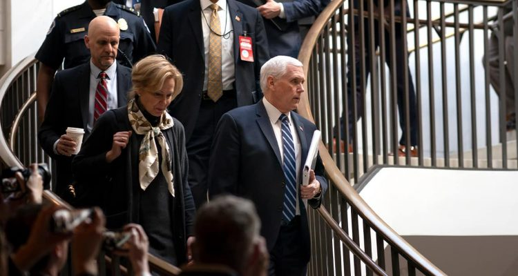 Photo of Vice President Mike Pence, center, joined at left by Dr. Deborah Birx, the coronavirus response coordinator