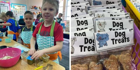 Photo of kids making dog treats
