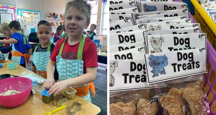 Photo of kids making dog treats