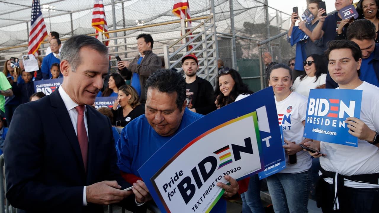 Photo of Los Angeles Mayor Eric Garcetti and Joe Biden supporters