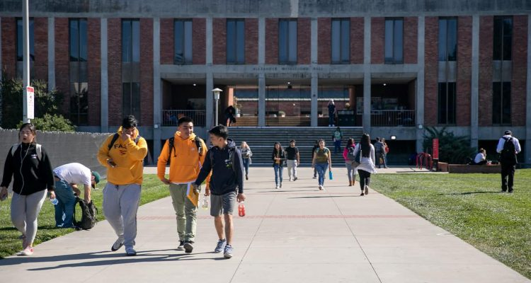Photo of college students on campus at CSU East Bay
