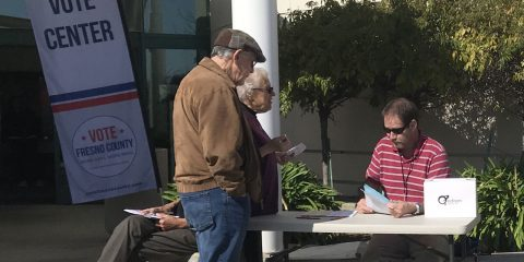 Photo of Pacific Research at a voting center in Fresno