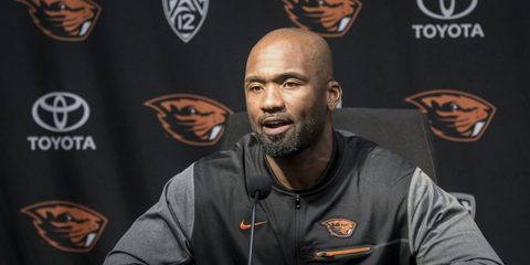 Photo of Cory Hall at news conference talking about being Oregon State interim head coach