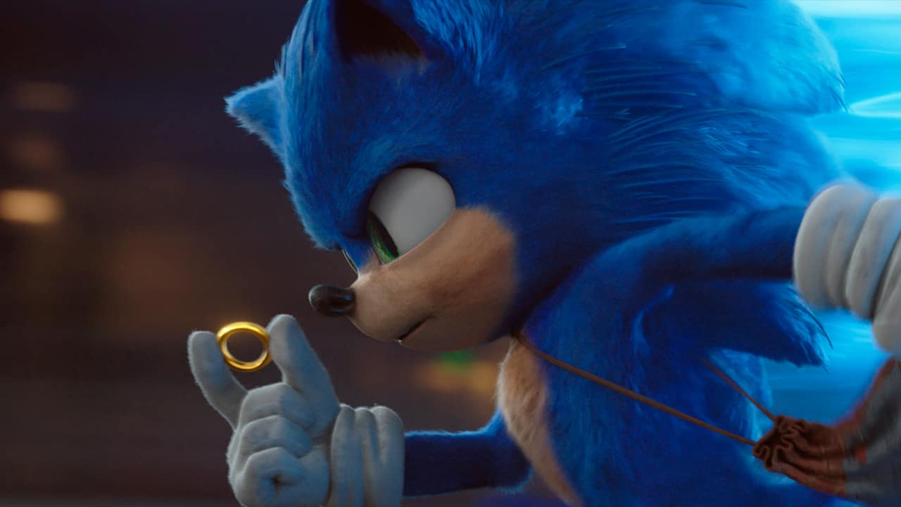 """Photo of Sonic, voiced by Ben Schwartz, in a scene from """"Sonic the Hedgehog."""""""