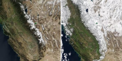 NASA Satellite images comparing California's 2019 and 2020 February snowpacks