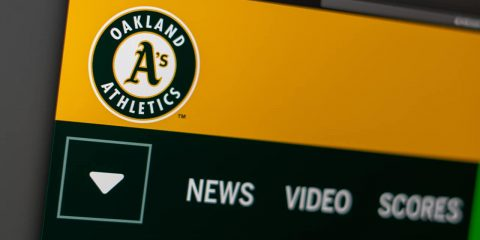 Photo of Oakland A's logo on a website page
