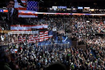 Photo of the stage at the Wells Fargo Arena before the start of the second day session of the Democratic National Convention in Philadelphia