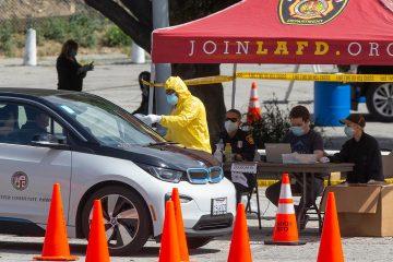 Photo of coronavirus testing station in Los Angeles