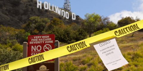 Photo of a closed sign at the Hollywood sign