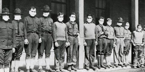 Photo of men wearing masks during the 1918 Spanish Flu Pandemic