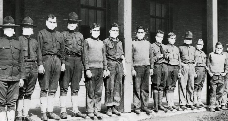 Photo of men wearing masks during the 1918 Spanish Flu Pandemic