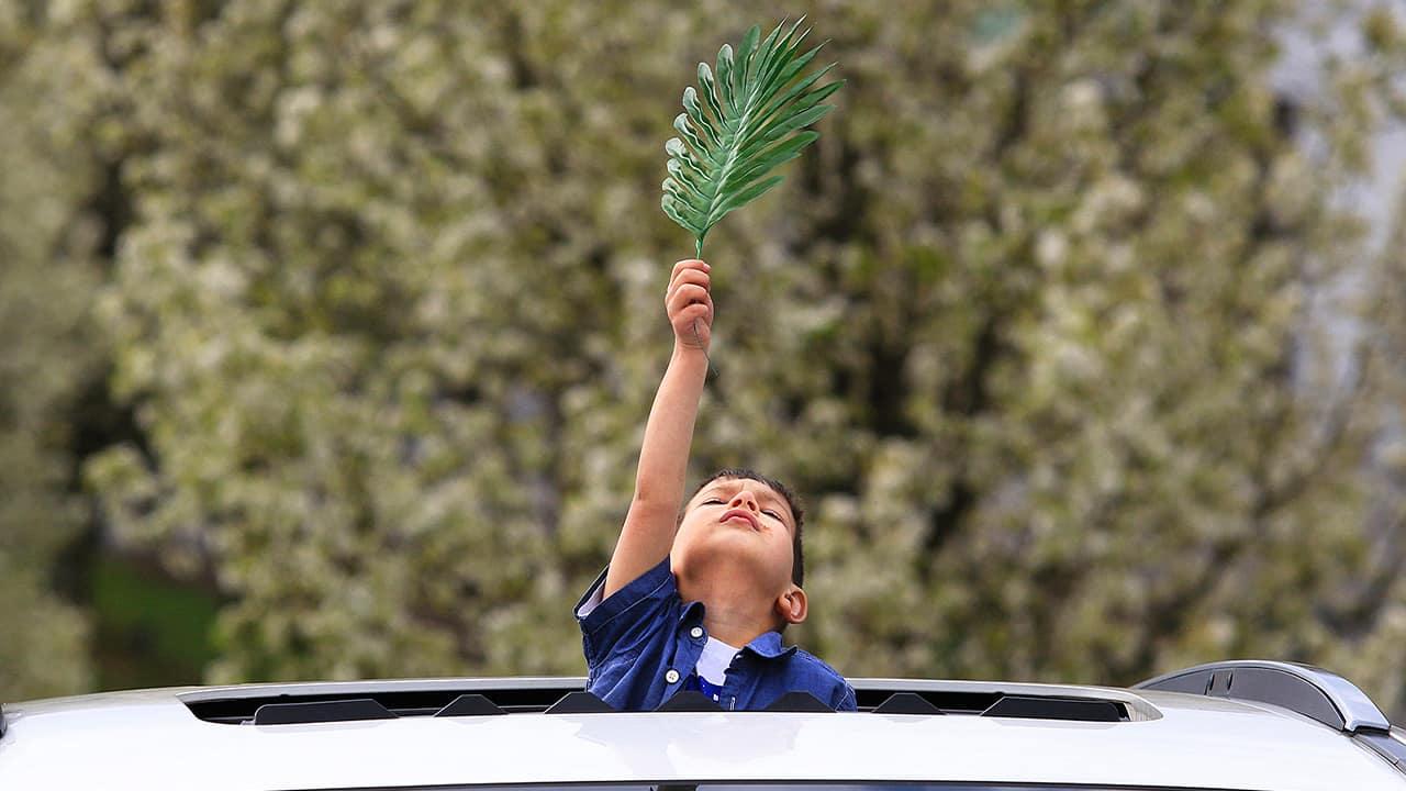 Photo of a kid holding a palm leaf