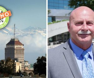 composite of Fresno Mayor-elect Jerry Dyer, the Fresno skyline and COVID-19 symbol an