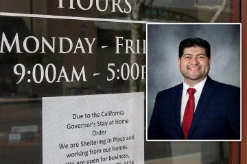 composite of a shelter in place sign at a business and a portrait of Fresno City Councilman Luis Chavez