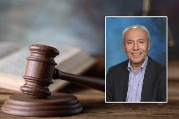 Portrait of Fresno attorney Victor Salazar set into a courtroom scene