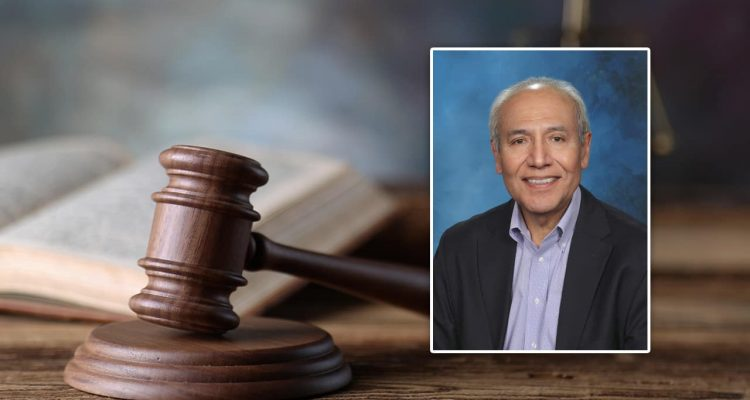 Portrait of Fresno attorney Victor Salazar set into a courtroom scene